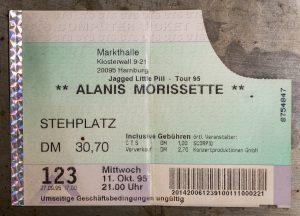 Eintrittskarte zum Alanis-Konzert Oktober 1995